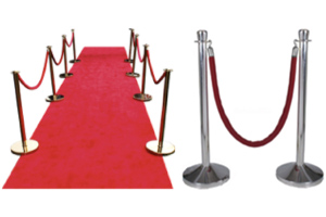 Chrome Stanchions with Red Velvet Rope